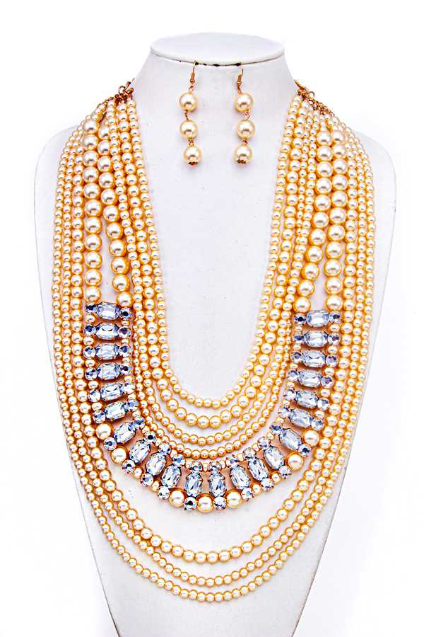 MULTI LAYERED BEADS CHUNKY NECKLACE SET