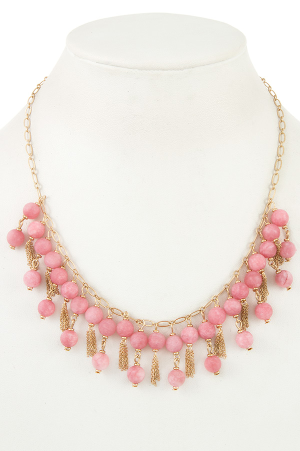 SEMI PRECIOUS DANGLE BEAD BIB NECKLACE