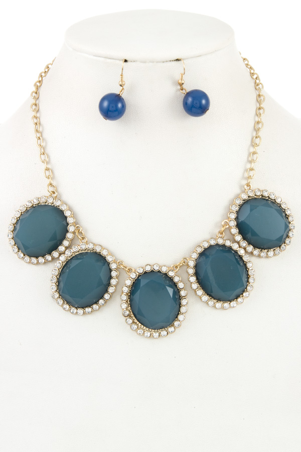 RhienstoneFrame Faceted Stone Necklace Set