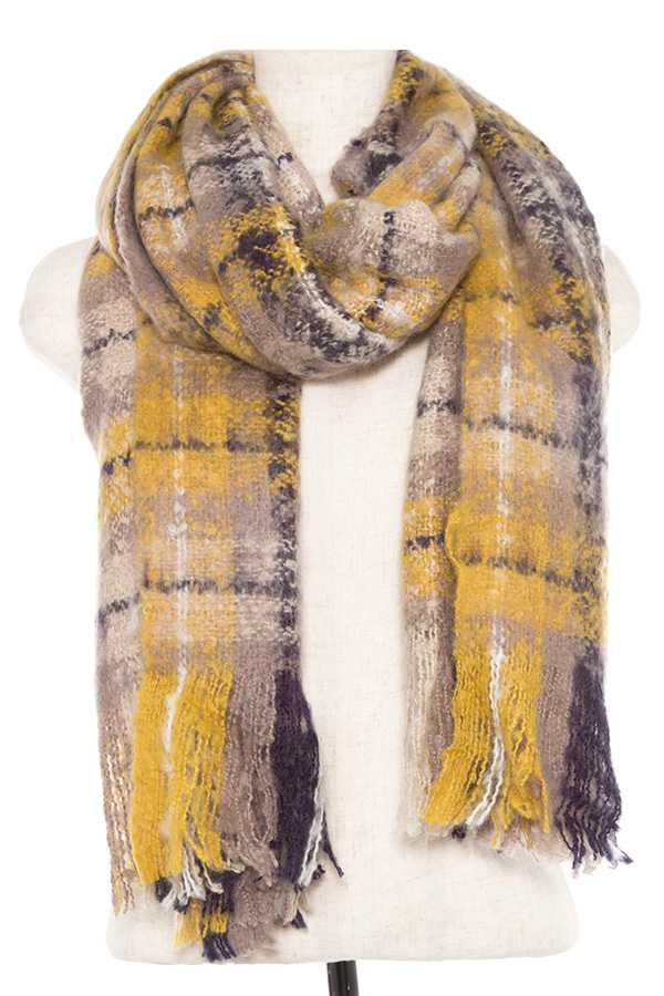 HEATHERED PLAID FRINGE END SCARF