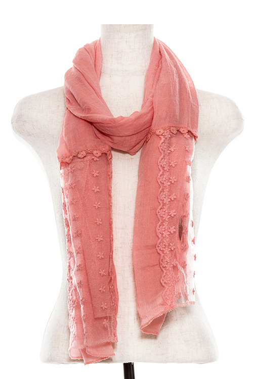 Crocheted Lace Flower Accent Oblong Scarf