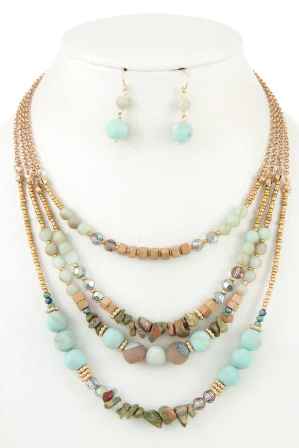 LAYERED MIX BEAD NECKLACE SET