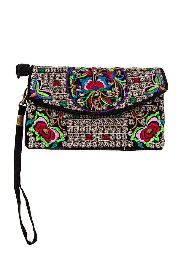 EMBROIDERED FLOWER CLUTCH BAG