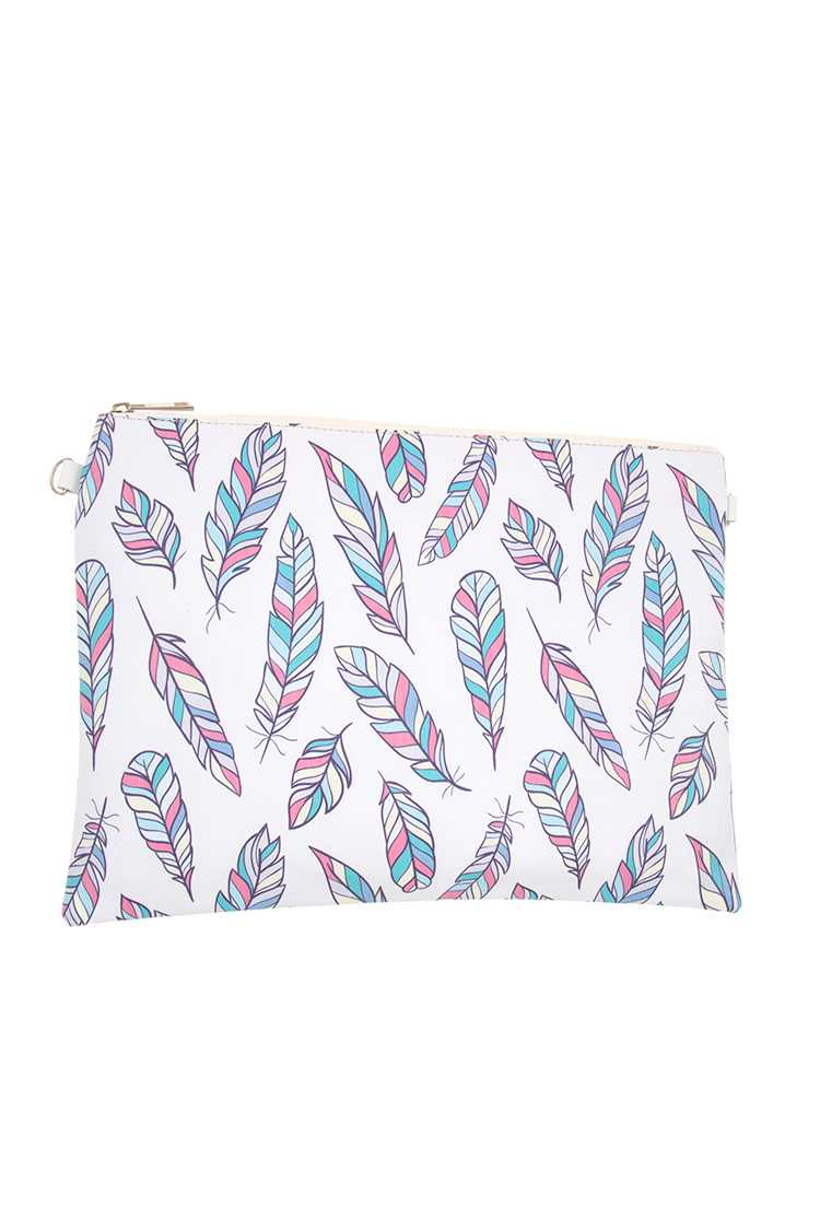Multi Color Feather Pattern Clutch Bag