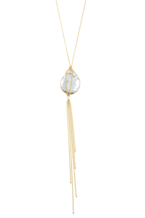 FRESHWATER PEARL CHAIN PENDANT LONG NECKLACE