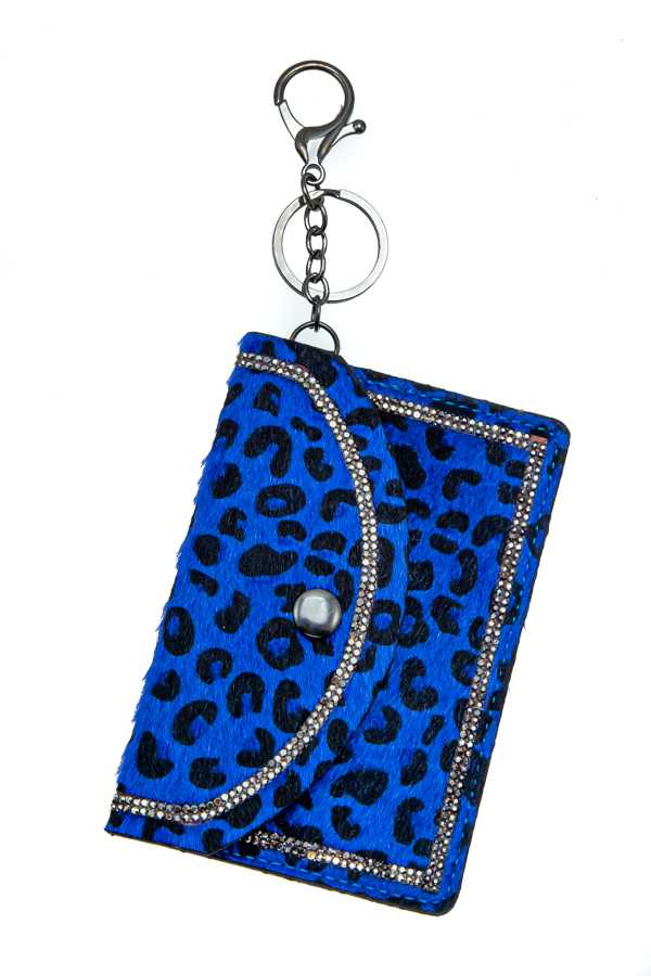 ARTIFICIAL FUR ANIMAL PRINT POUCH KEYCHAIN