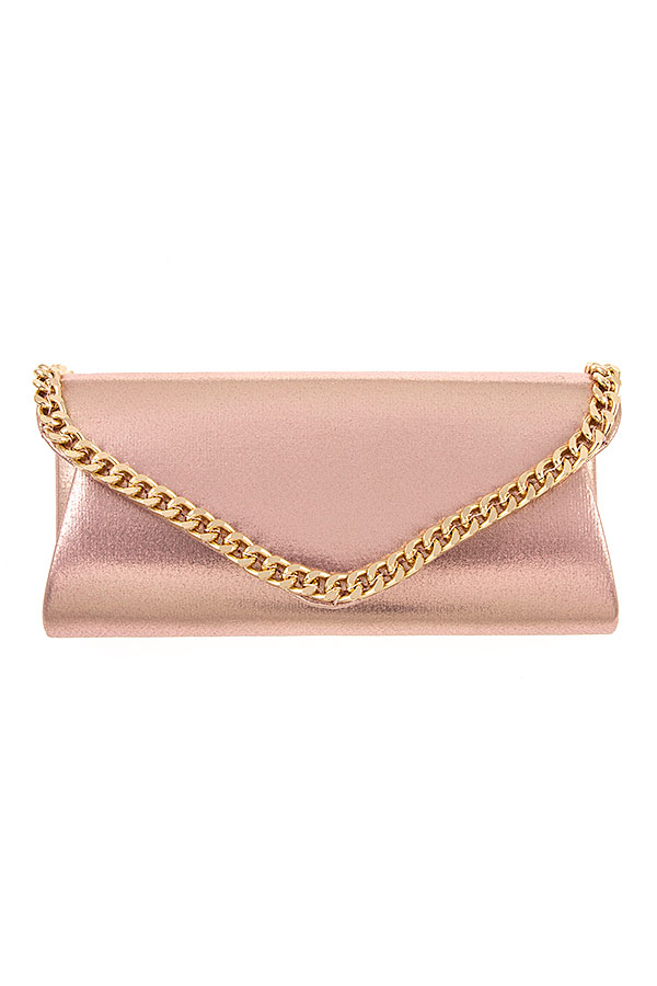 CHAIN ACCENT EVENING CLUTCH BAG