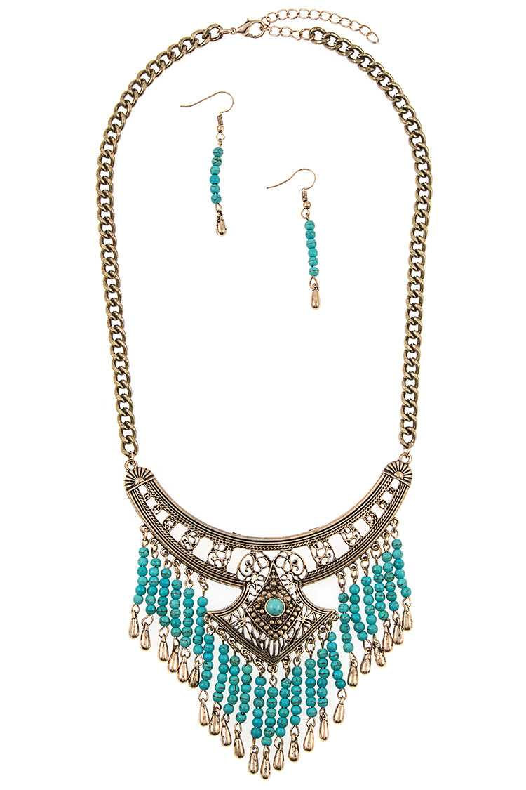 Filigree Metal Link Bead Dangle Fringe Bib Necklace Set