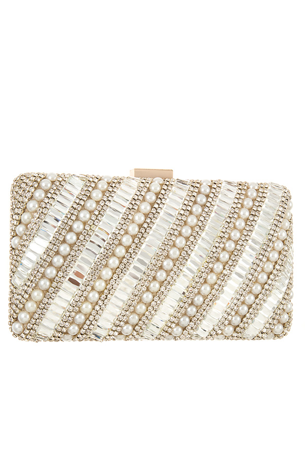 CRYSTAL AND PEARL ACCENT CLUTCH BAG