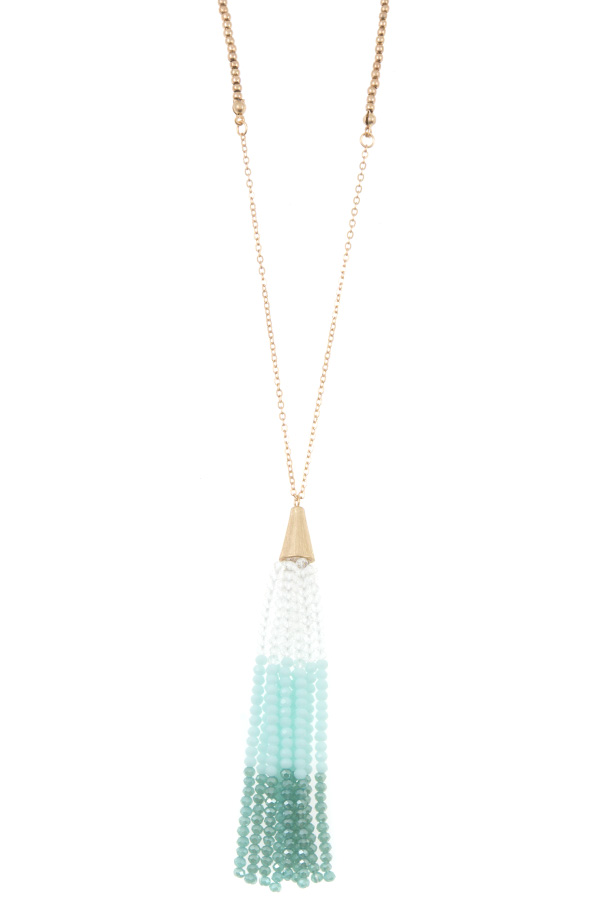 ELONGATED GLASS BEAD TASSEL PENDANT NECKLACE