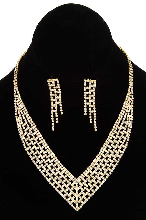 RHINESTONE PAVE V SHAPE NECKLACE SET