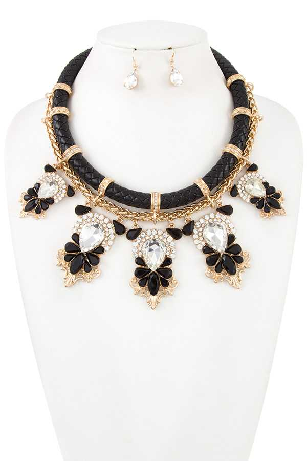 RHINESTONE AND CRYSTAL GEM TIERED BIB NECKLACE SET