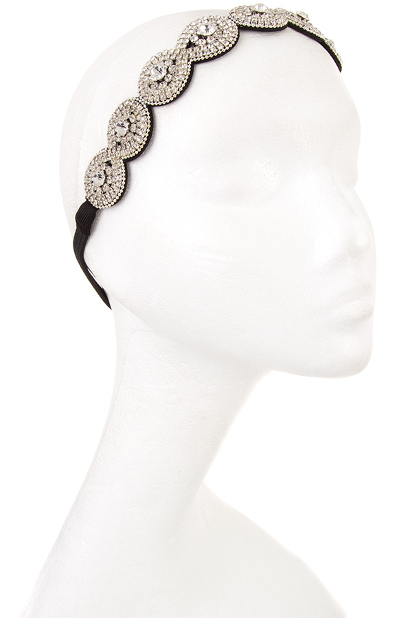 Infinity Crystal Link Floral Center Head Band