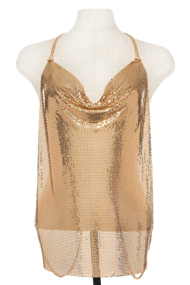Gold Mesh Metal Backless Top Body Chain