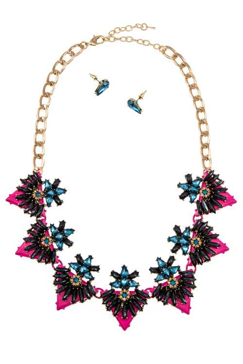 CRYSTAL GEM FLORAL ORNATE DETAILED BIB NECKLACE SET