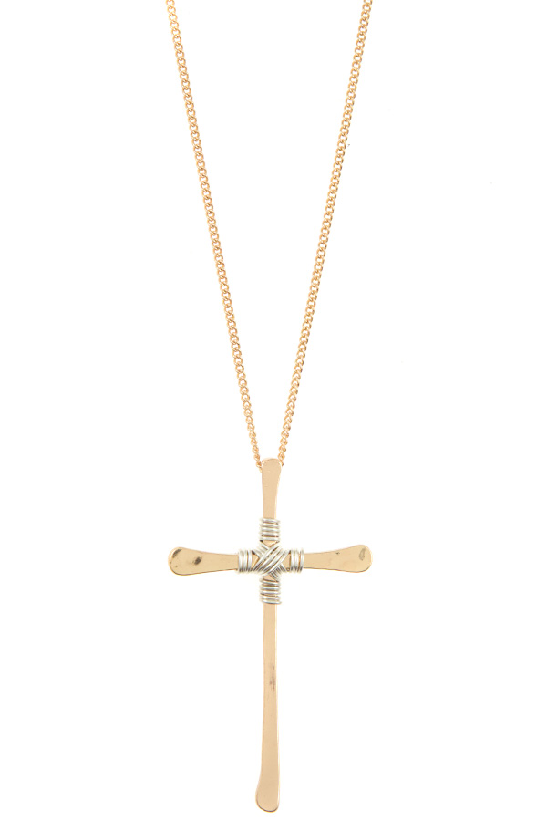 WRAPPED CENTER CROSS PENDANT NECKLACE SET