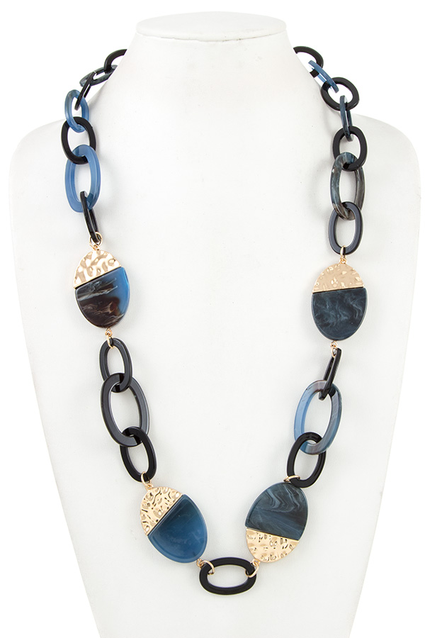 LINK CHAIN ACETATE STONE NECKLACE