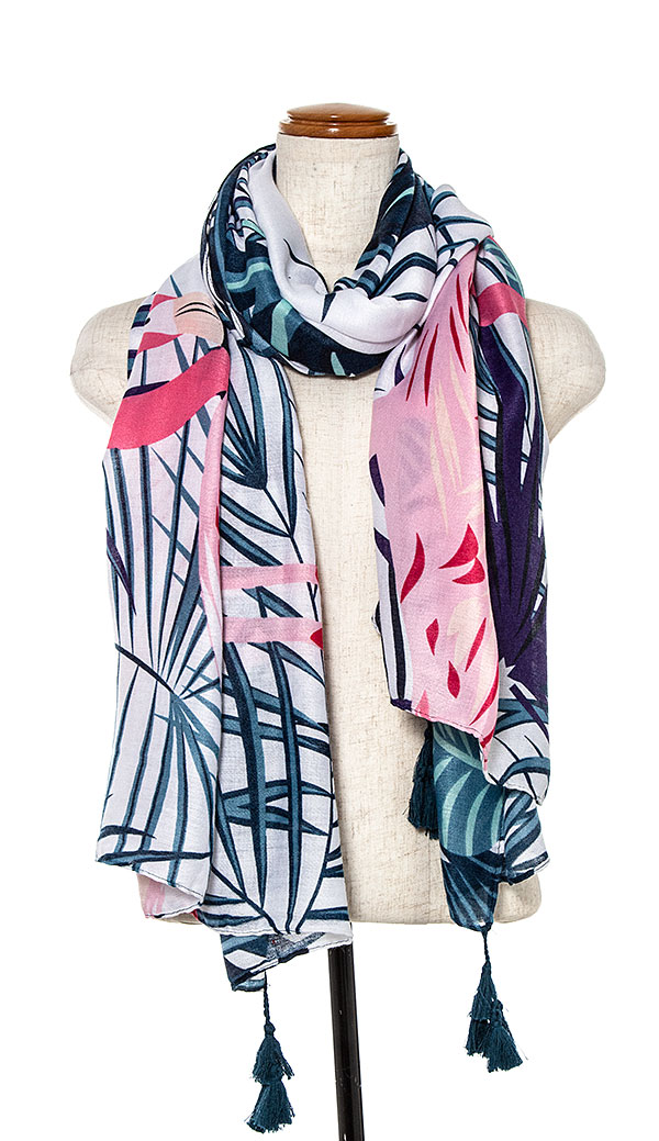 FLAMINGO TROPICAL PRINT OBLONG SCARF