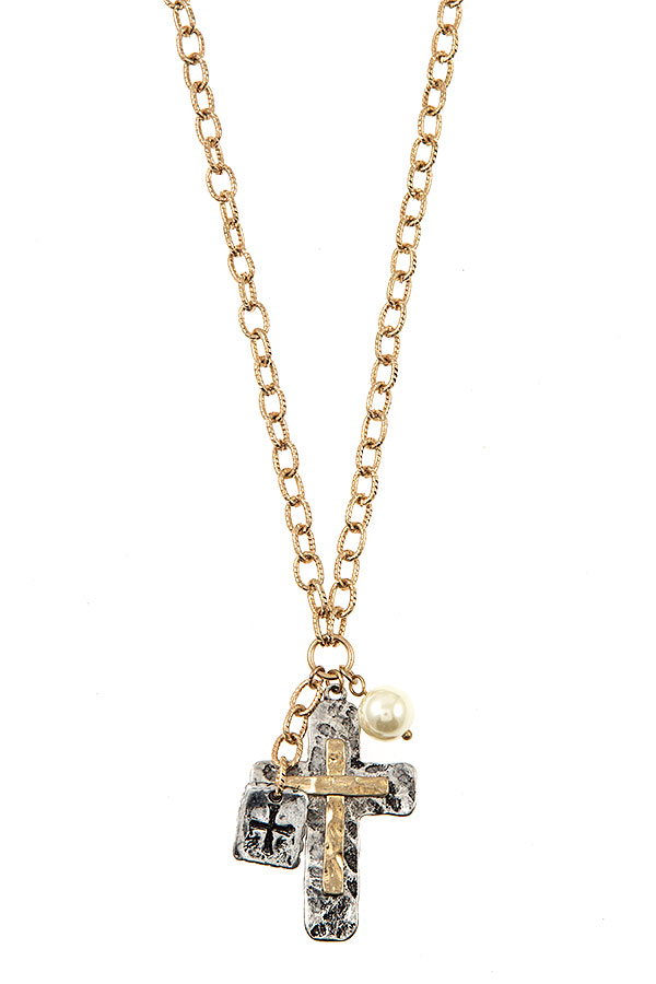 HAMMERED CROSS PENDANT CHAIN NECKLACE