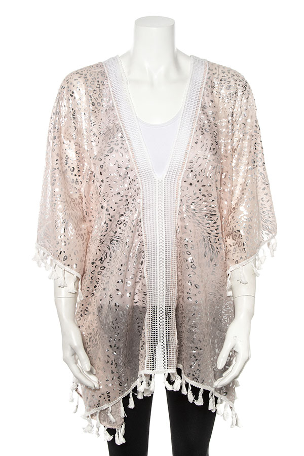 METALLIC ANIMAL PRINT PATTERN TASSEL TRIM KIMONO