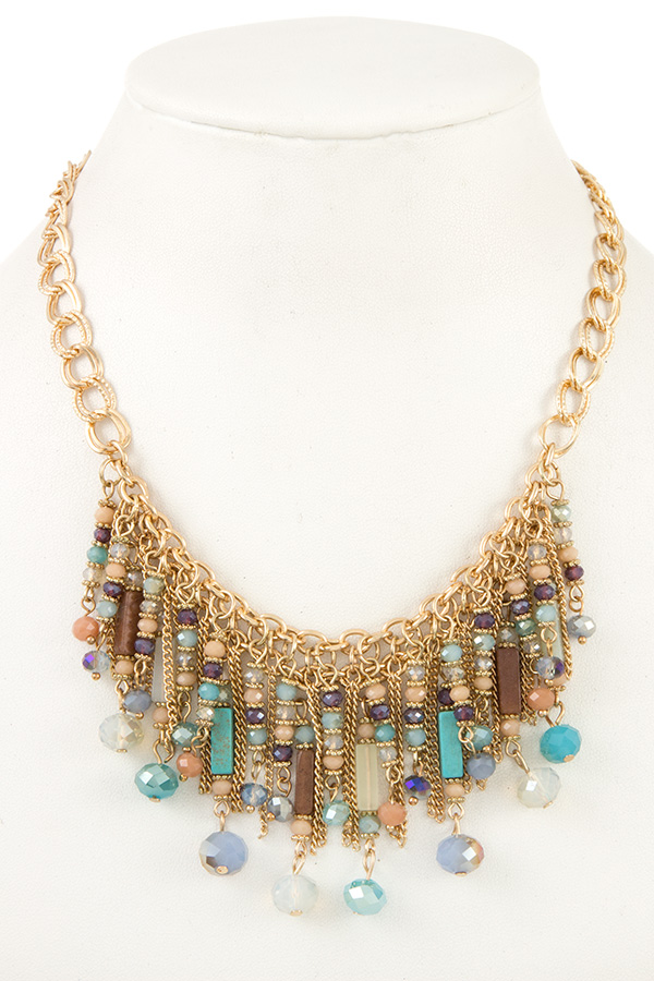 Crystal Beads Drop Dangle Bib Necklace