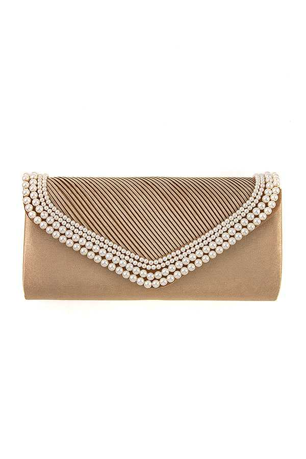 PEARL ACCENT EVENING CLUTCH BAG