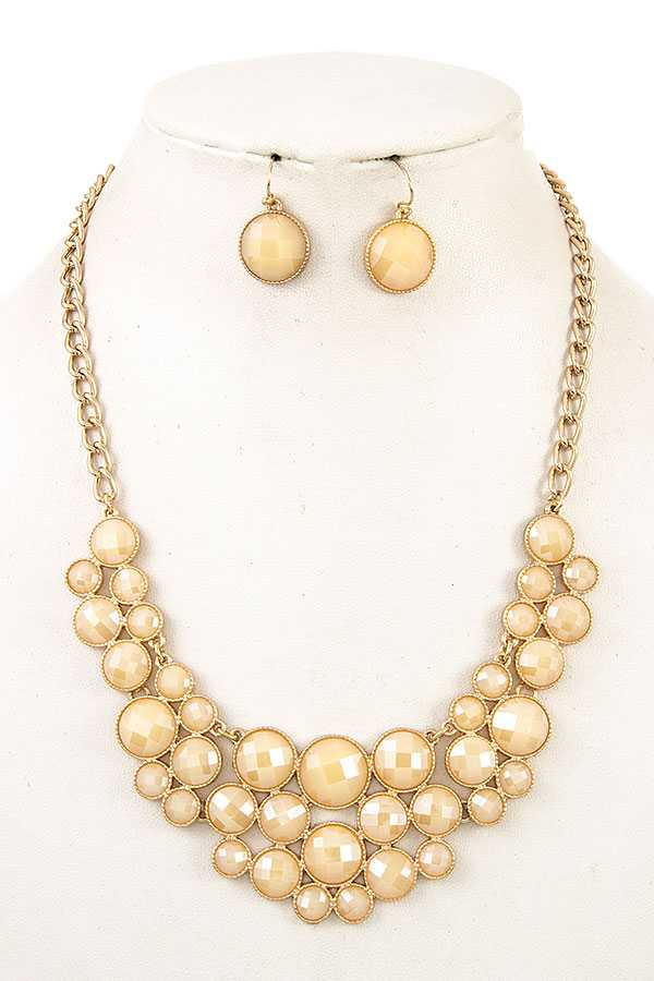 ROUND FACETED STONE BIB NECKLACE SET