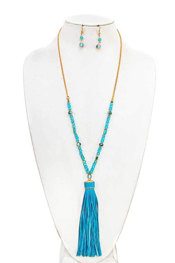 BEAD AND TASSEL LONG NECKLACE SET