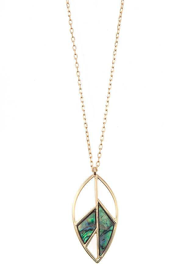 SHELL STONE LEAF SHAPE PENDANT NECKLACE