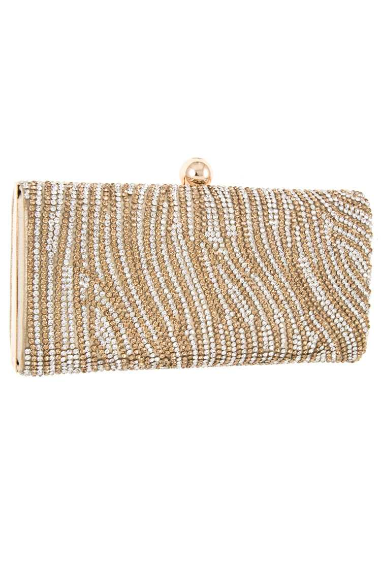 Wave Rhinestone Pave Detail Evening Clutch Bag