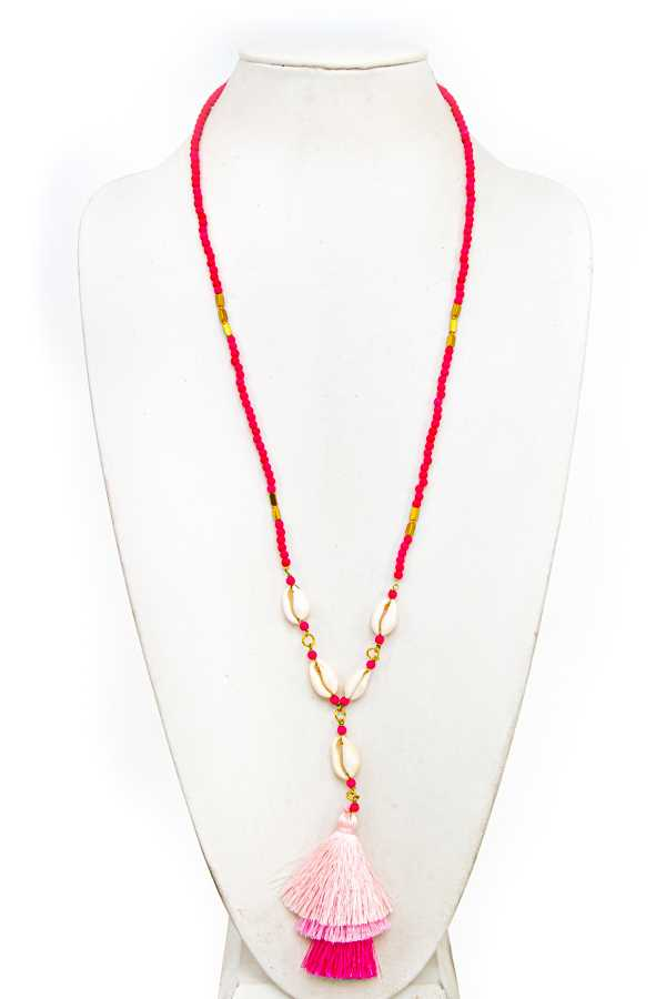 BEAD SHELL AND TASSEL LONG NECKLACE