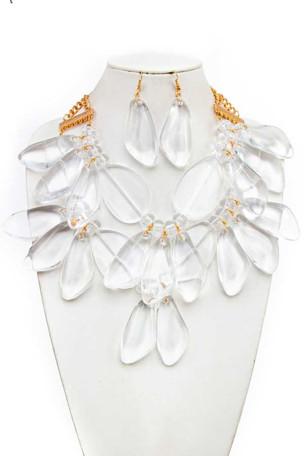 CLEAR ACRIC BIB CHUNKY NECKLACE SET