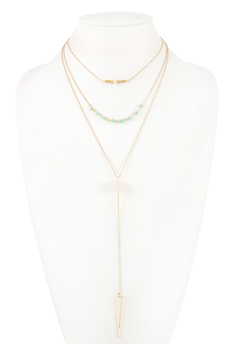 Triple Layered Beaded Stone Triangle Cut Out Pedant Necklace