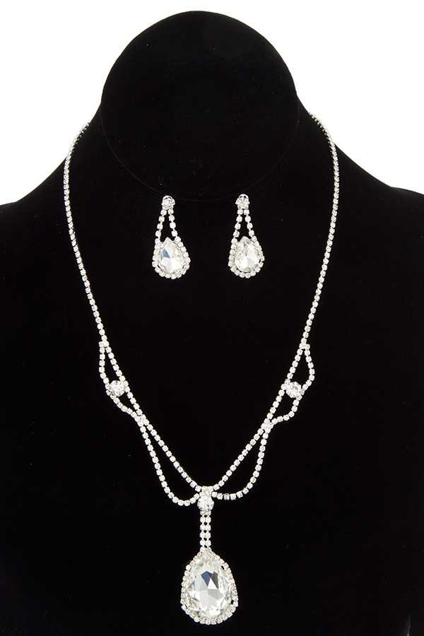 FACETED LARGE TEARDROP PENDANT RHINESTONE NECKLACE SET