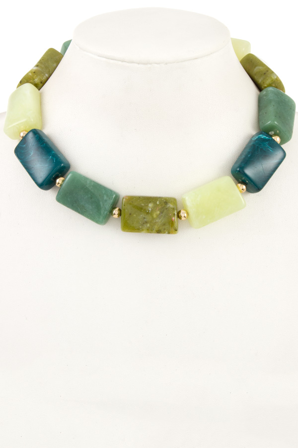 Faceted Link Stone Necklace