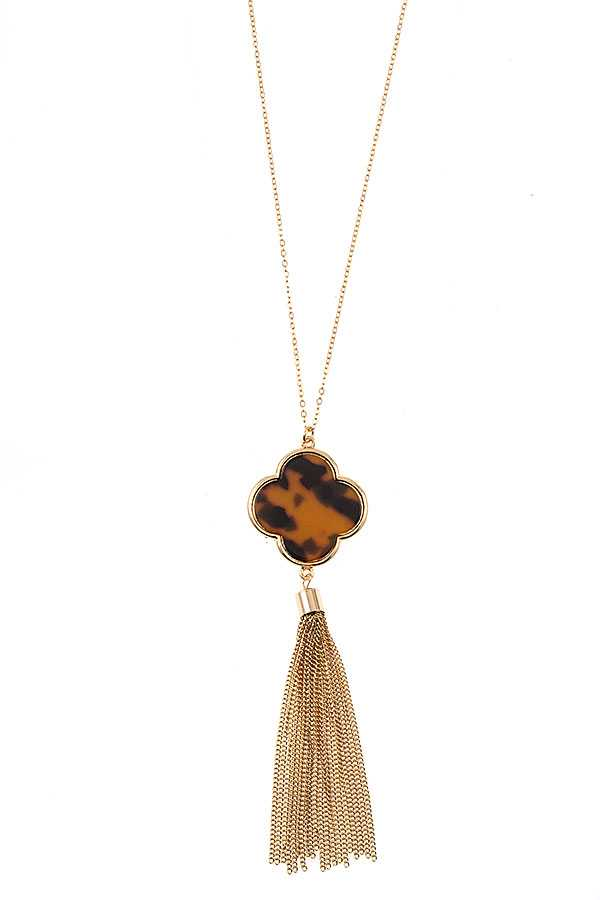 CLOVER CHAIN TASSEL PENDANT LONG NECKLACE