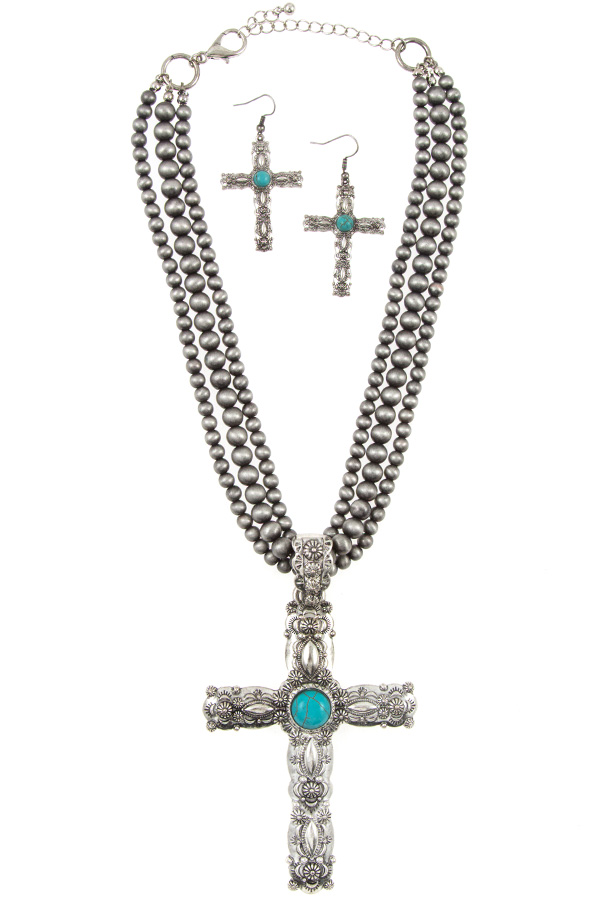 Multi Row Bead Cross Etched Pendant Necklace Set