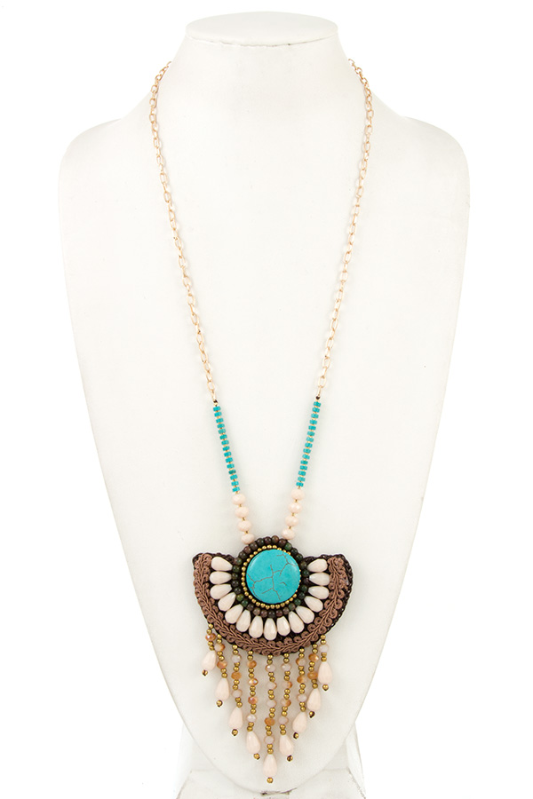 Semi Floral Gemstone Pendant Long Necklace