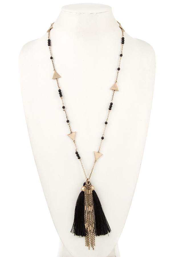 Station Beads and Triangle Y Shape Drop Tassel Necklace