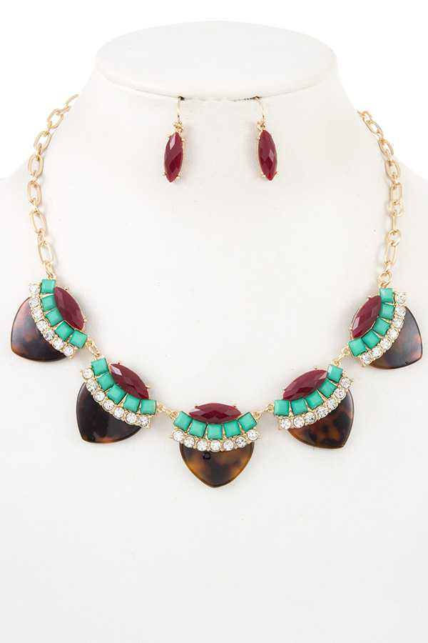 ACRYLIC GEM TORTOISE LINK BIB NECKLACE SET