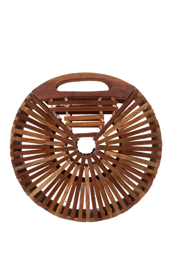 ROUND CUT OUT BAMBOO FASHION BAG