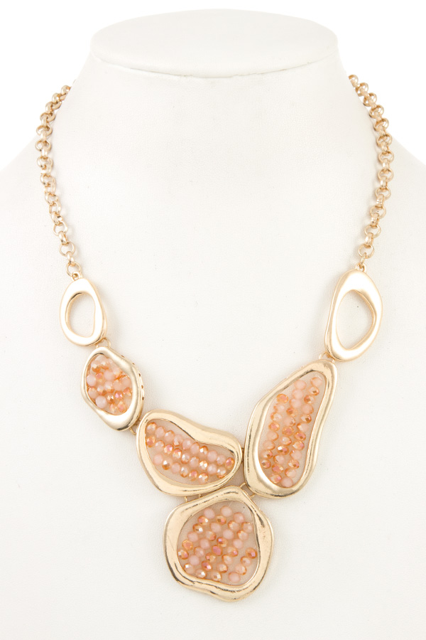 ABSTRACT SHAPE ACCENT BEADS NECKLACE