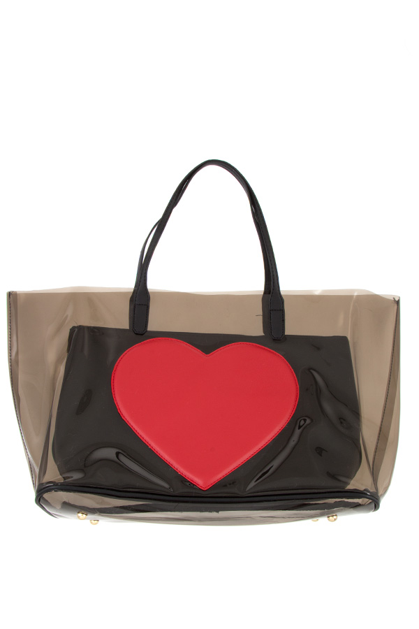 SEE THROUGH HEART ACCENT TOTE BAG SET