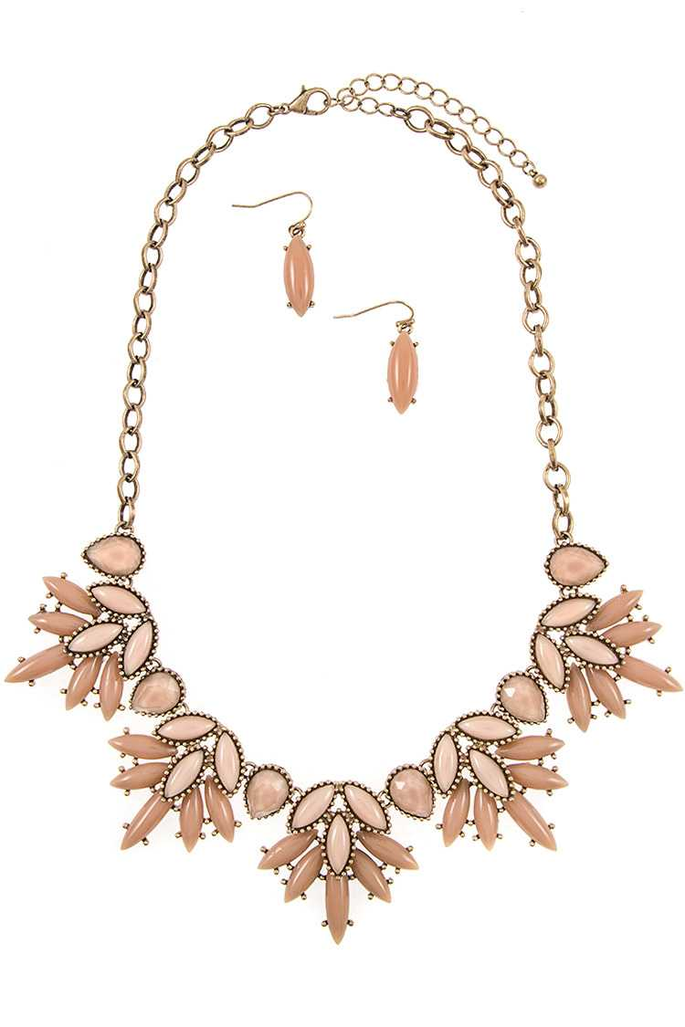 Dotted Framed Acrylic Stone Bib Necklace Set