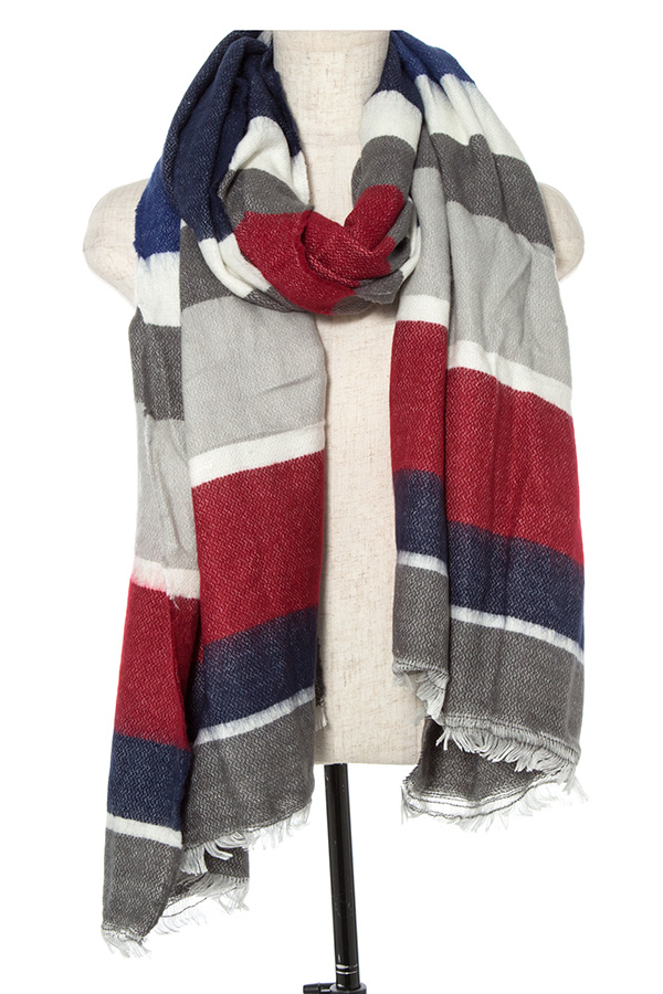 COLOR BLOCK OBLONG FRING TRIM SCARF