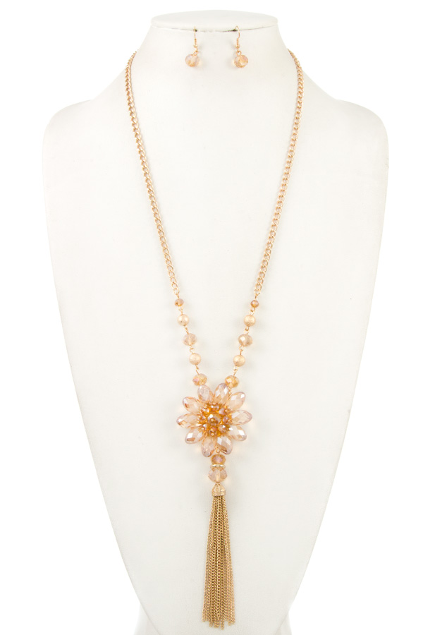 Crystal Floral with Tassel Pendant Necklace Set