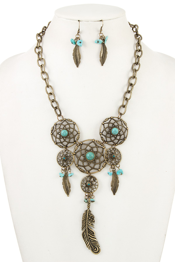 Triple Dream Catcher Pendant Bib Necklace Set
