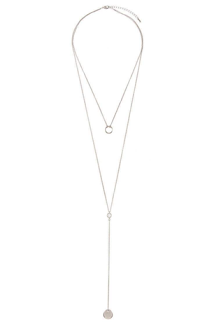 Round Pendant Double Layer Long Necklace