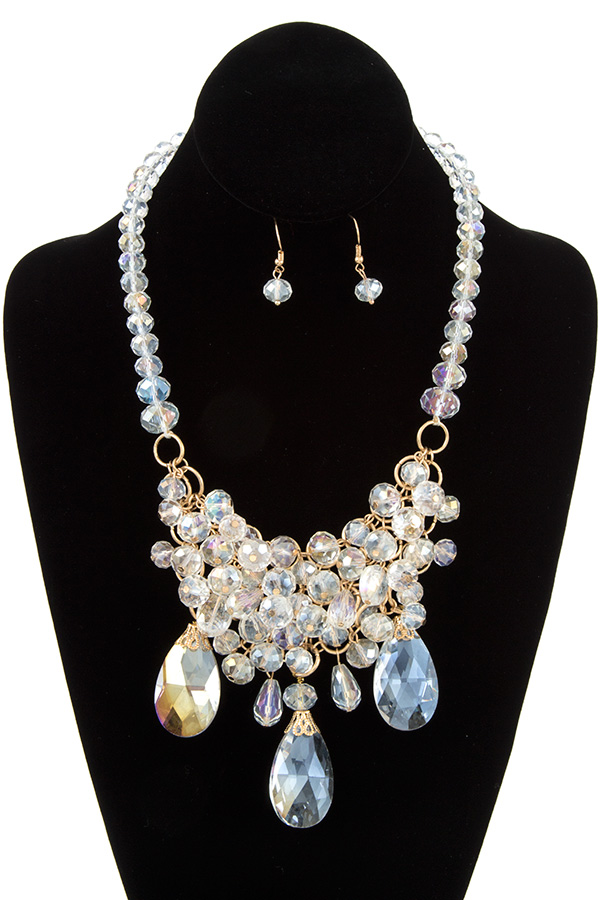 Crystal Cluster Dangle Bib Necklace Set