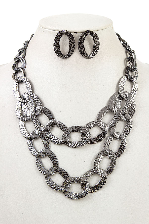 DOUBLE ROW HAMMERED LINK CHAIN NECKLACE SET